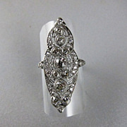 Spectacular Edwardian Platinum and Diamond Ring