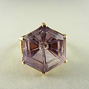 Unique Hexagonal Fantasy Cut Amethyst 14KY ring