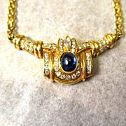 Glamorous 14 Karat Yellow Gold Sapphire and Diamond Necklace