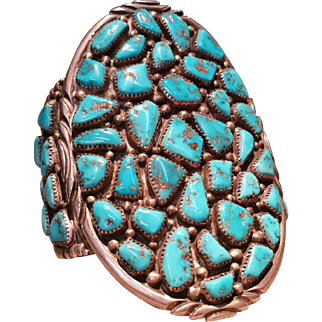 Unique Large Navajo Turquoise and Sterling Silver Bracelet