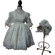 Exquisite Antique pure silk Dress Bonnet for french bebe Jumeau doll