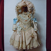 Exquisite Basque Waistline Couturier Costume Dress hat for antique french Bebe doll