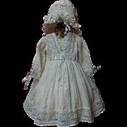 Antique 19th Century Lawn Dress Bonnet for french bebe Jumeau doll