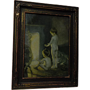 "All Original antique framed print ""After the Bath"" by Paul Peel"