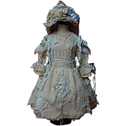Gorgeous crepe Dress Reticella Lace Petticoat Hat for huge german french bisque doll