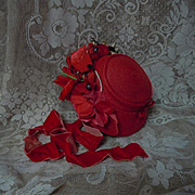 Wonderful Red soft straw doll Hat velvet silk roses for antique german french bisque doll