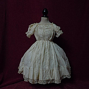All Original Antique 19th century batiste Dress valenciennes lace for french bebe Jumeau Steiner Bru doll