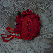 Gorgeous Red soft straw silk doll Hat  poppies for antique german french bisque doll