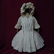 Original Antique white work batiste Dress w/ Petticoat Hat for german french huge bisque doll