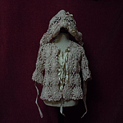 Beautiful beige wool silk Sweater Bonnet for baby compo german french bisque doll