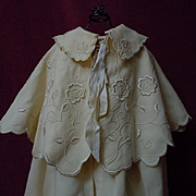 Antique Woolen Silk Cape Bonnet  exquisite pure silk Embroidery for german french huge bisque doll
