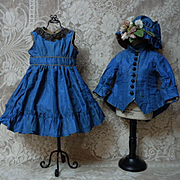 Gorgeous Antique Silk Dress Jacket Hat french Bebe Costume for Jumeau Steiner Bru doll