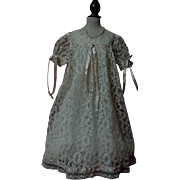 Old Champagne Lace Dress w/ taffeta Slip for huge german bisque doll