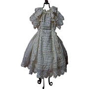 Superb All Original Antique 19th century batiste Dress for french bebe Jumeau Steiner doll