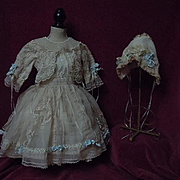 Gorgeous Old organza Dress w/ Petticoat Bonnet for german french bisque doll