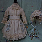 Wonderful french pique Dress w/ Petticoat Bonnet for german french bisque doll