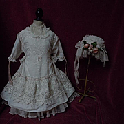 Antique batiste Dress w/ linen Undergarment Cap for german french huge bisque doll
