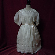 All Original Antique pure silk Dress w/ linen Slip for german french huge bisque doll