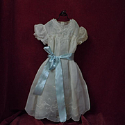 Exquisite Original Antique smocked organdy Dress Slip Bonnet for german french huge bisque doll