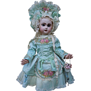 Exquisite Aquamarine Couturier Costume Dress Hat Basket Necklace Bracelet for french bebe Jumeau Steiner Bru doll