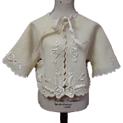 Superb All Original Antique 19th century hand embroidered baby Jacket for bisque doll