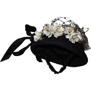 Old black Crepe silk Hat Orange blossom for antique german french bisque doll