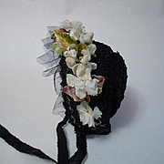 Old black soft straw Hat millinery Orange blossom flowers for antique german french bisque doll