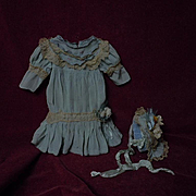 Lovely vintage aquamarine taffeta French Bebe Dress Hat petticoat for antique Jumeau Steiner doll