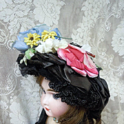 Original 1870's straw millinery silk flowers Hat for antique french bisque huge doll