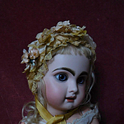 "Beautiful doll Hat amber soft Straw for 21"" antique german french bisque doll"