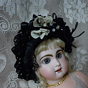 Beautiful soft straw Hat Headdress for antique german french bisque doll