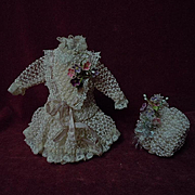 Exquisite tiny french Couturier Bebe Dress Petticoat Hat for antique Bleuette sized bisque doll