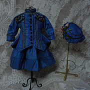 Superb pure Silk Dress Jacket Hat french Bebe Costume for Jumeau Steiner Bru doll