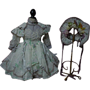 Exquisite Basque Waistline Muslin Dress w/ Petticoat Hat for french bebe Jumeau Steiner Bru doll