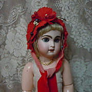 Gorgeous Braided Red soft straw doll Hat orange blossom for antique german french bisque doll