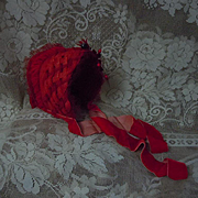 Gorgeous Braided Red soft straw Hat velvet Lace for antique german french bisque huge doll