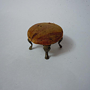 Beautiful Antique 19th century Velvet Ormolu Brass metal Ottoman doll house furniture accessory