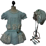 Antique Muslin Dress Sleep Bonnet for german french huge bisque doll