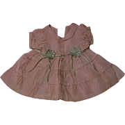 All Original Old Vintage Taffeta dress for antique composition bisque baby toddler doll