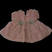 All Original Old Vintage Taffeta dress for antique composition bisque baby toddler doll