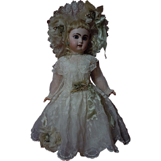 Exquisite Old Dress Slip w/ Hat for french bebe Jumeau Steiner Bru doll