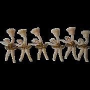 Lovely Set of 6 Vintage Ballerina Candle Holders Cake golden tutu and crown