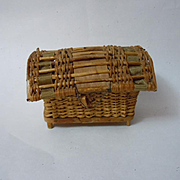 Antique woven wicker basket  Picnic Hamper  w/ carpet and 8 terracotta pan for doll decor