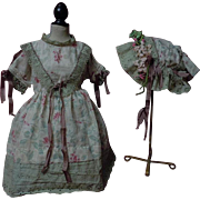 Antique printed linen Dress Cap for german bisque french bebe huge doll