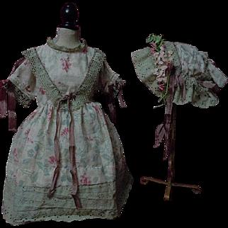 Antique printed linen Dress Cap for german bisque french bebe huge doll