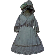 Marvelous Old batiste Dress Slip Bonnet for german bisque french bebe huge doll