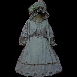 Marvelous Old batiste Dress Slip Bonnet for german bisque french bebe huge doll