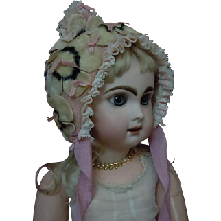 Gorgeous  Old middle century crepe  doll Hat  for antique german french bisque doll
