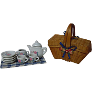 Old woven wicker basket Picnic Hamper w/ Tablecloth and 9 porcelain tea pieces for doll decor