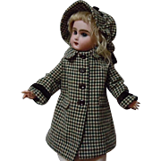 """Lovely Old middle century gingham Coat Hat for 19-21"""" antique bisque doll"""